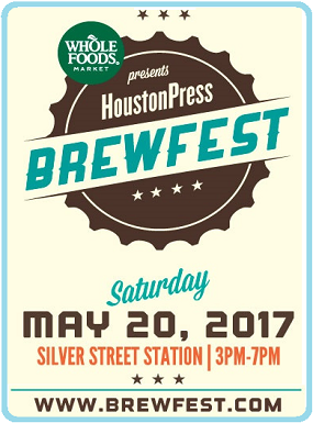 The 6th annual Houston Press BrewFest presented by Whole Foods Market returns to Silver Street Station on May 20th from 3-7pm. Celebrate your love for craft beer by enjoying over 150 beer options.